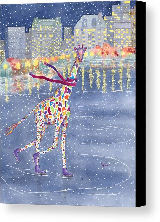 Giraffe Canvas Print featuring the painting Annabelle On Ice by Rhonda Leonard