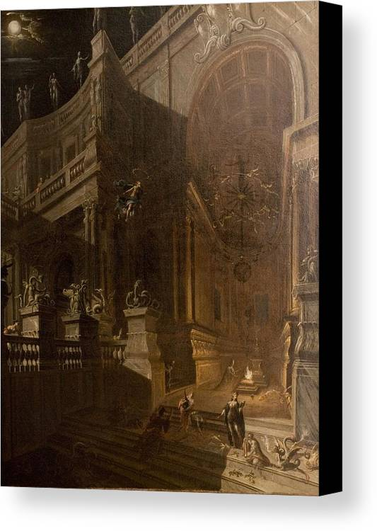 Architectural Canvas Print featuring the painting Architectural Fantasy With Figures by Stefano Orlandi