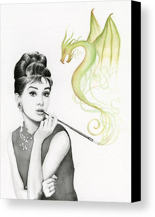 Audrey Canvas Print featuring the painting Audrey And Her Magic Dragon by Olga Shvartsur