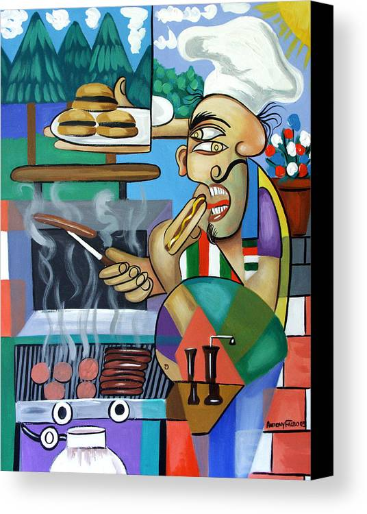Back Yard Chef Canvas Print featuring the painting Backyard Chef by Anthony Falbo