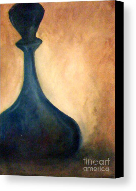 Blue Canvas Print featuring the painting Blue Vase by Simonne Mina