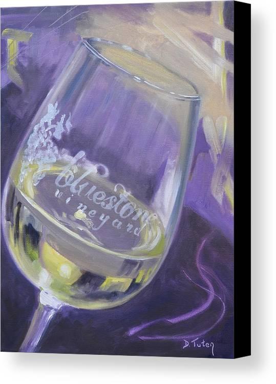 Wine Canvas Print featuring the painting Bluestone Vineyard Wineglass by Donna Tuten