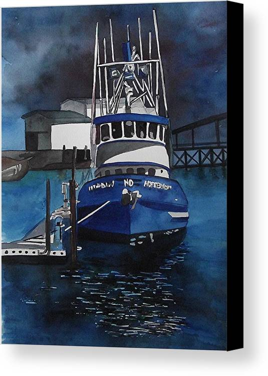 Seascape Canvas Print featuring the painting Boat At Rest by Linda Parisi