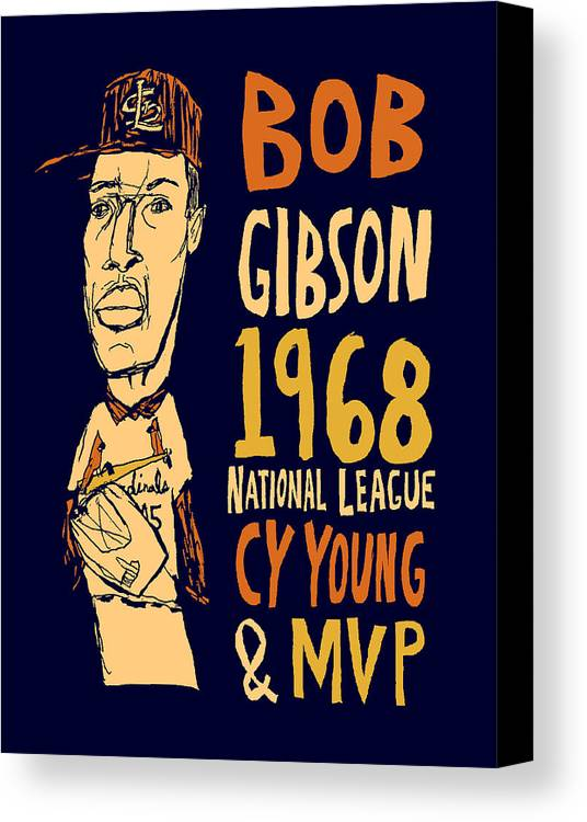 Bob Gibson Canvas Print featuring the mixed media Bob Gibson St Louis Cardinals by Jay Perkins