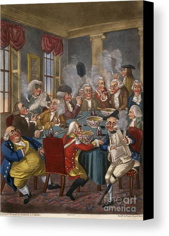 18th Century Canvas Print featuring the photograph Cartoon: The Smoking Club by Granger