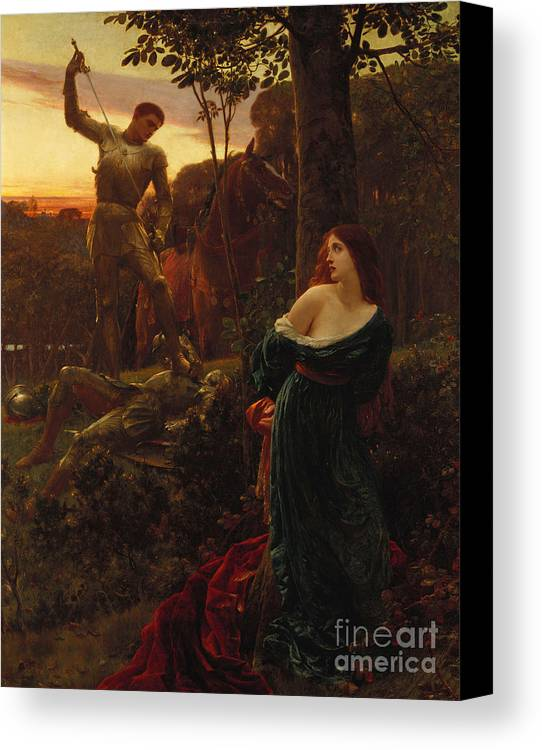 Male Canvas Print featuring the painting Chivalry by Sir Frank Dicksee