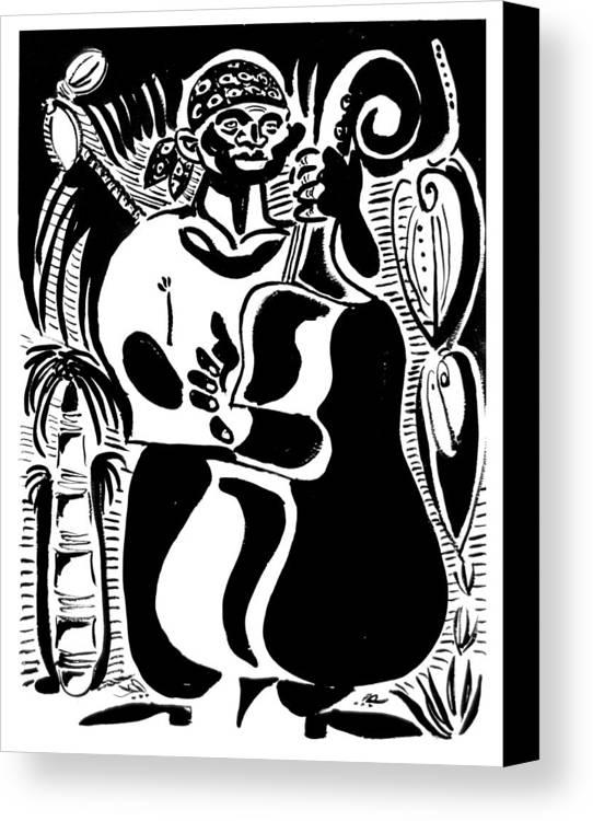 Cuba Music Dance Contra Bass Upright Bass Vaskovsky Vadim Art Print Ink Paper Watercolour Black White Carib Bandana Palm South Lino Cut Canvas Print featuring the drawing Contrabass by Vadim Vaskovsky