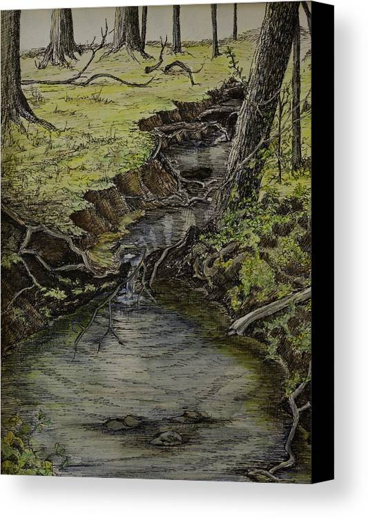 Creek Canvas Print featuring the painting Creek by Janet Felts
