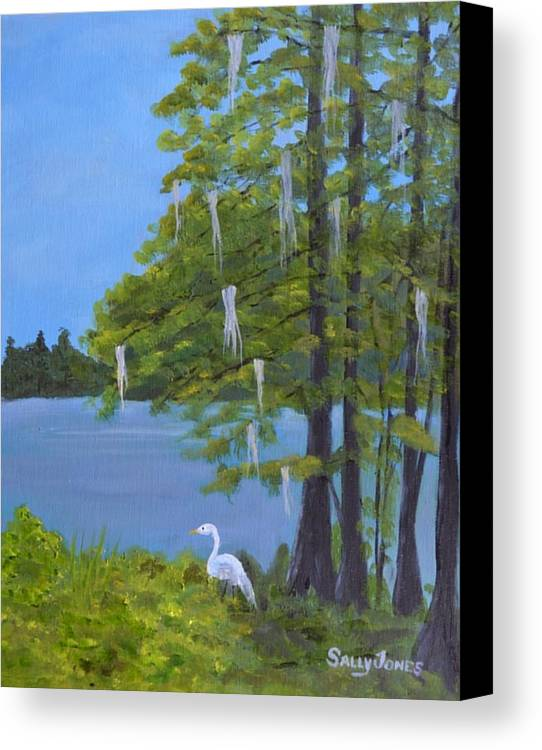 South Carolina Canvas Print featuring the painting Cypress Trees At Lake Marion by Sally Jones