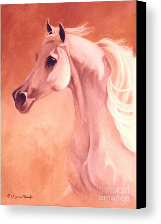 Horses Canvas Print featuring the painting Desert Prince Arabian Stallion by Suzanne Schaefer