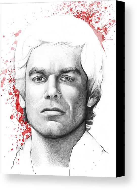 Dexter Canvas Print featuring the drawing Dexter Morgan by Olga Shvartsur