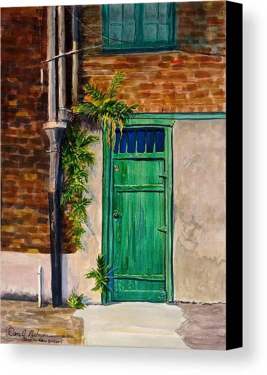 Door Canvas Print featuring the painting Door In New Orleans by Dan Redmon