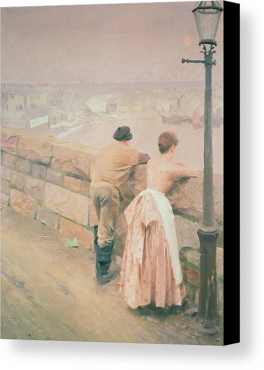 Lamp Post Canvas Print featuring the painting Fisherman St. Ives by Anders Leonard Zorn