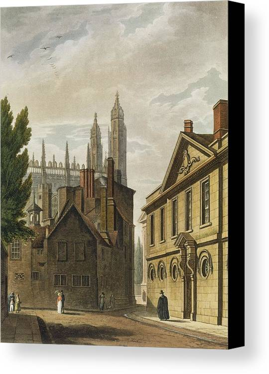 Architecture Canvas Print featuring the drawing Front Of Trinity Hall, Cambridge by Augustus Charles Pugin