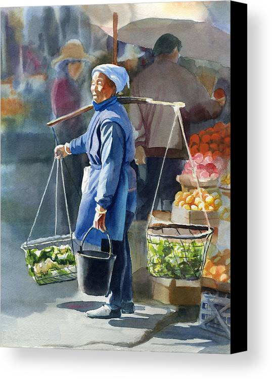 Chinese Canvas Print featuring the painting Gathering Greens by Sharon Freeman