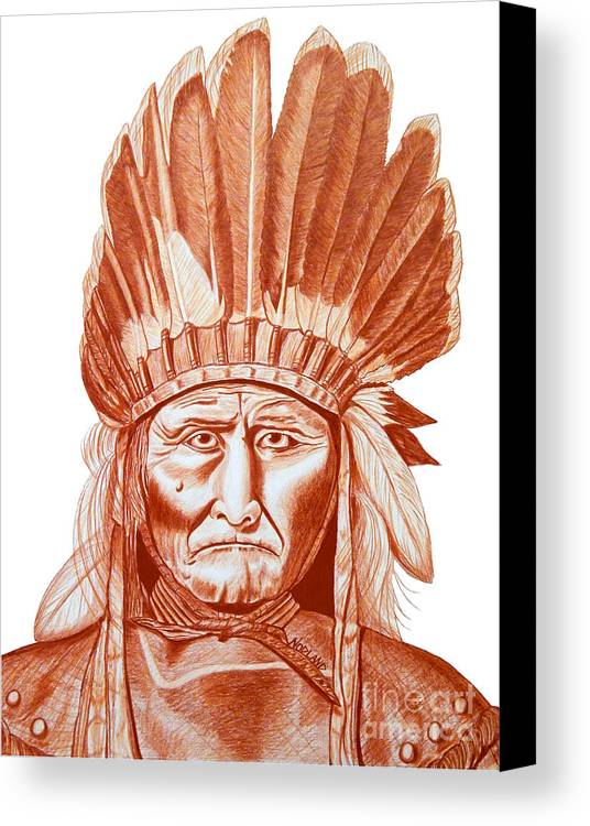 Geronimo Canvas Print featuring the drawing Geronimo by Kevin Nodland