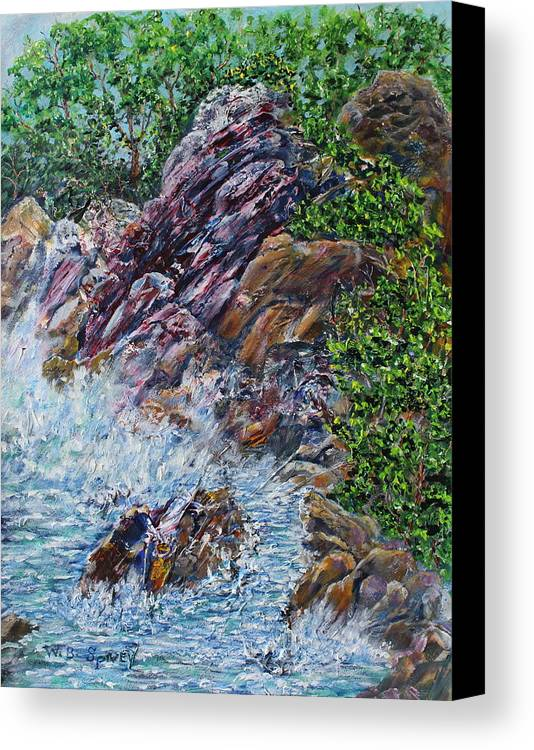 Canvas Print featuring the painting Green Shores by William Spivey