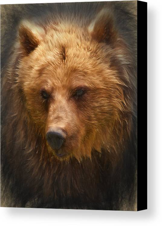 Grizzly Canvas Print featuring the digital art Grizzly Bear by Ian Merton