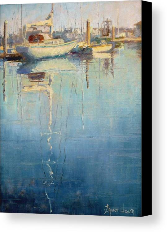 Monterey Harbor Canvas Print featuring the painting Harbor Reflection by Sharon Weaver