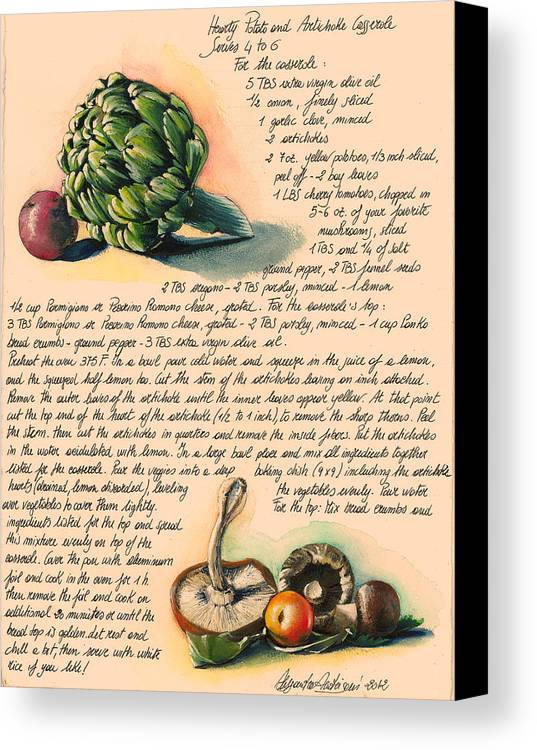 Green Canvas Print featuring the painting Hearty Casserole by Alessandra Andrisani