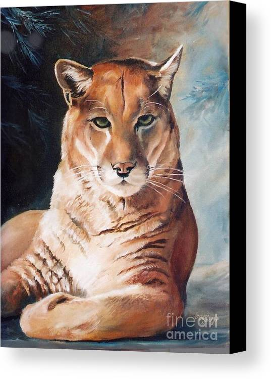 Cougar Canvas Print featuring the painting Her Majesty by Suzanne Schaefer