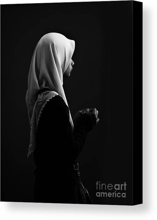 Young Woman Canvas Print featuring the photograph Hijab Profile by Sheila Smart Fine Art Photography
