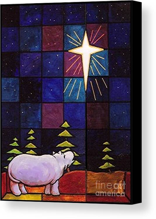 Christmas Canvas Print featuring the painting Hippo Awe And Wonder by Jim Harris