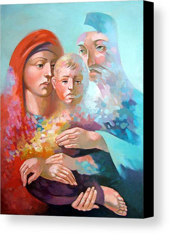 Saint Mary Canvas Print featuring the painting Holy Family by Filip Mihail