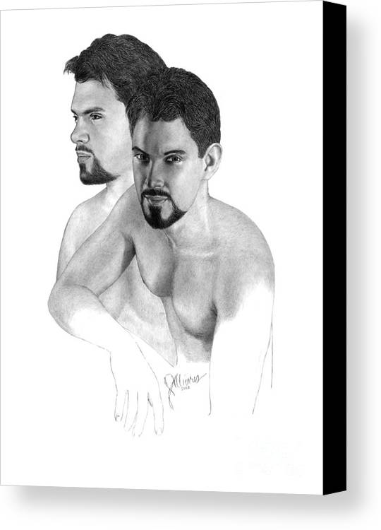 Pencil Drawing Print Canvas Print featuring the drawing Intense Stare by Joe Olivares