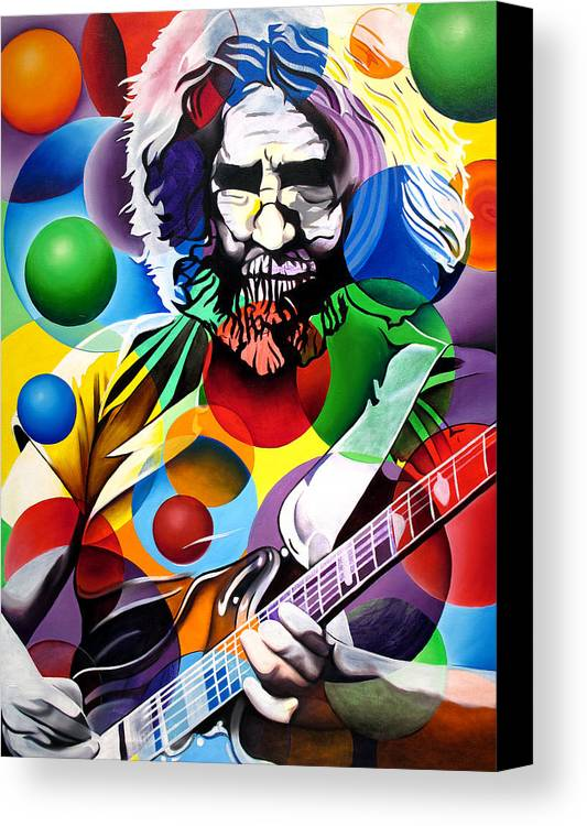Jerry Garcia Canvas Print featuring the painting Jerry Garcia In Bubbles by Joshua Morton