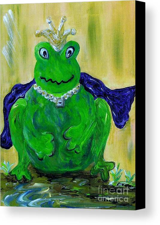 Frog Canvas Print featuring the painting King For A Day by Eloise Schneider Mote