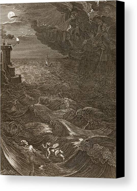 Classical Canvas Print featuring the drawing Leander Swims Over The Hellespont by Bernard Picart