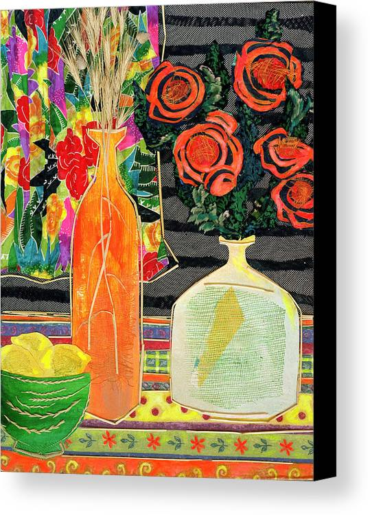 Flowers In A Vase Canvas Print featuring the mixed media Lemon Squash And Pumpkin by Diane Fine