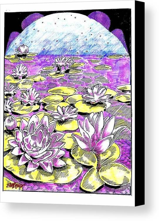 Lilies Of The Lake Canvas Print featuring the drawing Lilies Of The Lake by Seth Weaver