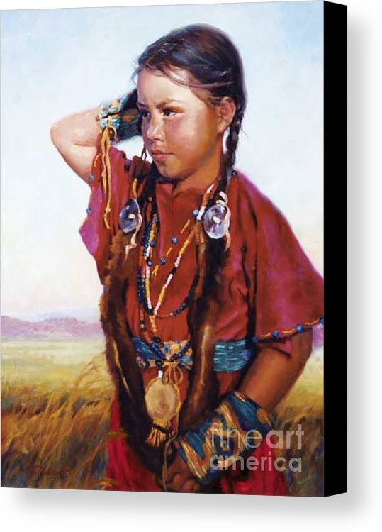 Indian Canvas Print featuring the painting Little American Beauty II by Jean Hildebrant