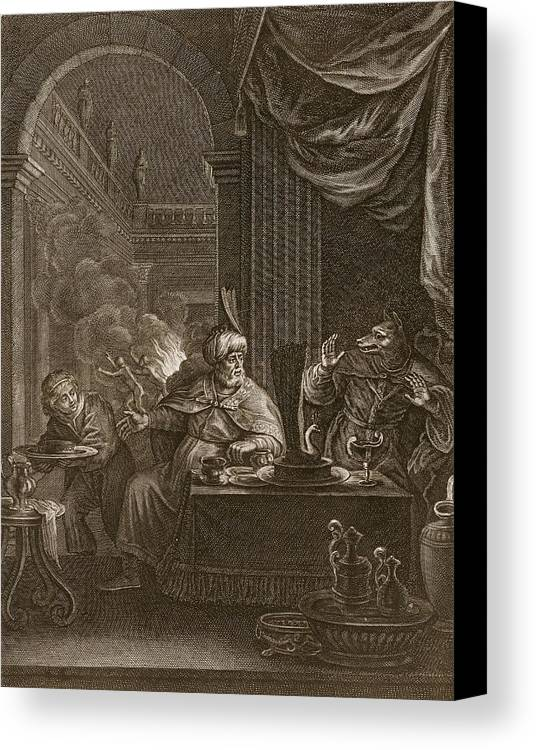 Ovid Canvas Print featuring the drawing Lycaon Metamorphosed Into A Wolf, 1731 by Bernard Picart