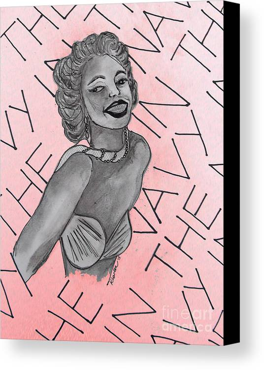 Girl Canvas Print featuring the drawing Marilyn Monroe Navy Pin Up Pink by Karen Larter