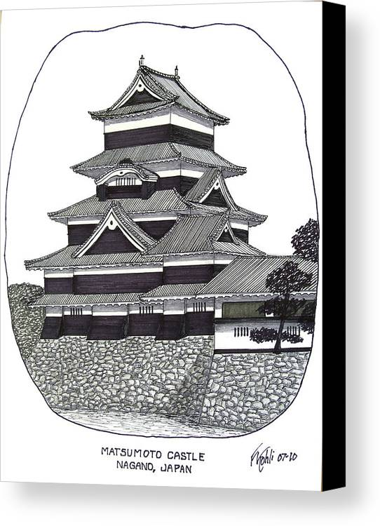 Ink Canvas Print featuring the drawing Matsumoto Castle by Frederic Kohli