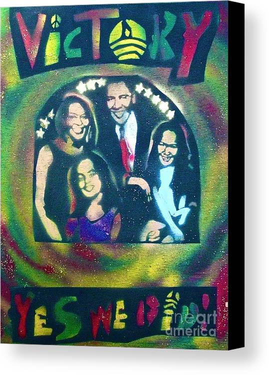 Barack Obama Canvas Print featuring the painting Obama Family Victory by Tony B Conscious