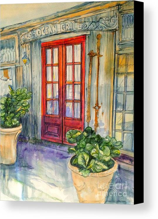 Watercolor Canvas Print featuring the painting Ocean Grill by Diane Phelps