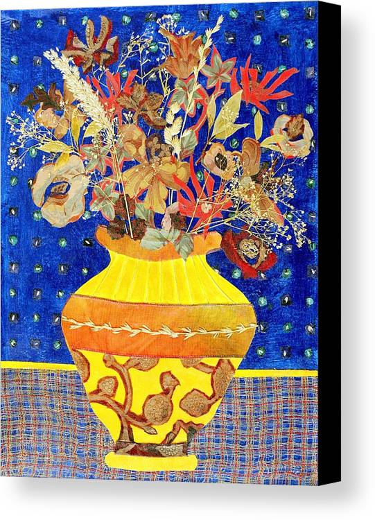 Flowers In A Vase Canvas Print featuring the mixed media Ode To A Grecian Urn by Diane Fine