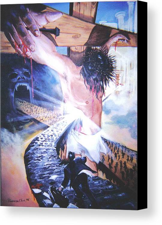 Jesus Canvas Print featuring the painting One Road by Ricardo Colon
