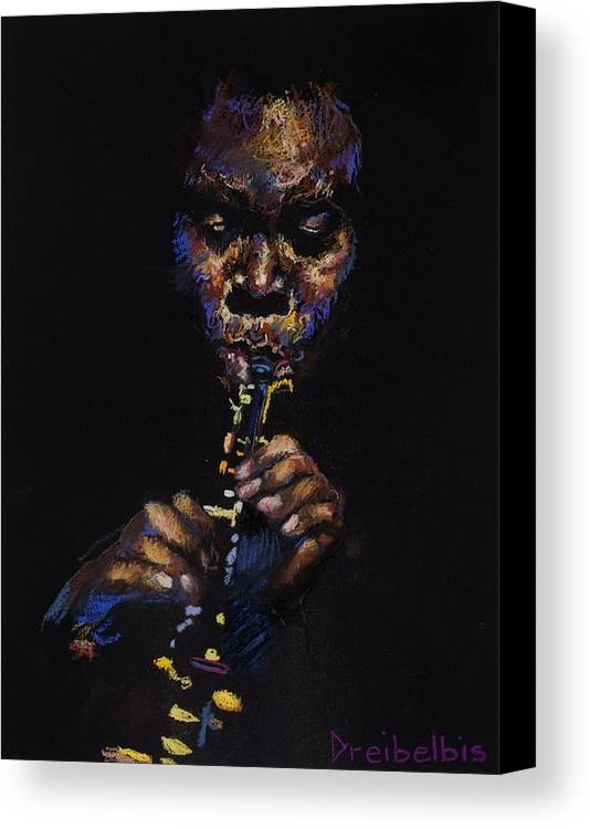 Music Canvas Print featuring the painting One With The Music by Ellen Dreibelbis