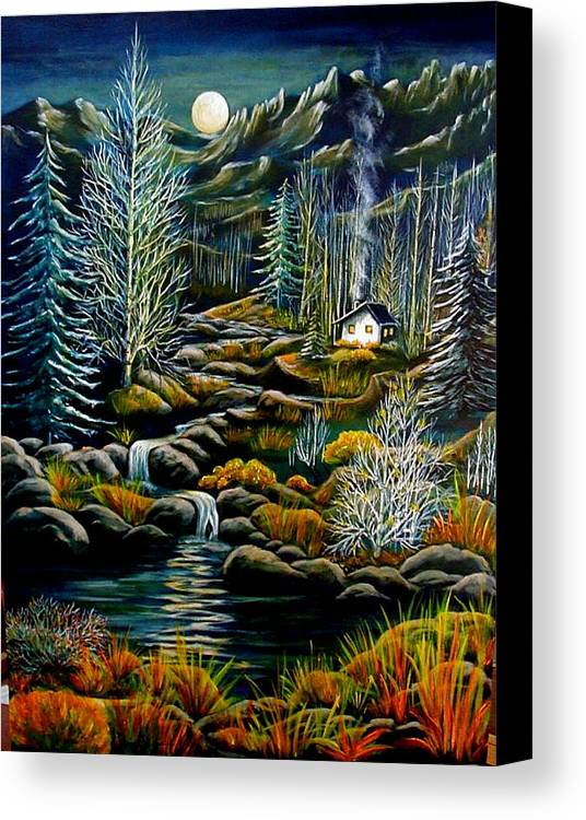 Mountains Canvas Print featuring the painting Peaceful Seclusion by Diana Dearen