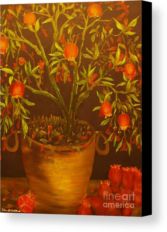 Pomegranate.plant Canvas Print featuring the painting Pomegranate Tree Of Love-original Sold- Buy Giclee Print Nr 28 Of Limited Edition Of 40 Prints  by Eddie Michael Beck