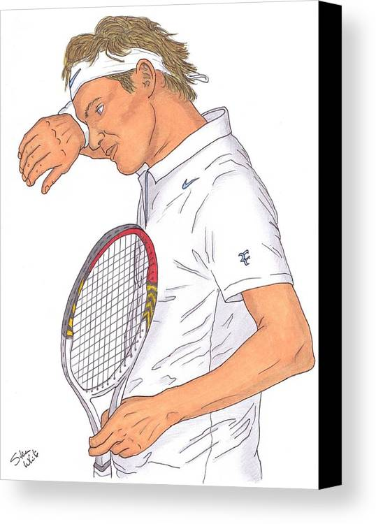 Roger Federer Canvas Print featuring the drawing Roger Federer by Steven White