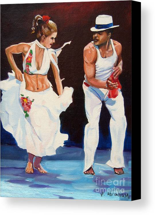 Dancing Canvas Print featuring the painting Salsa by Jose Manuel Abraham
