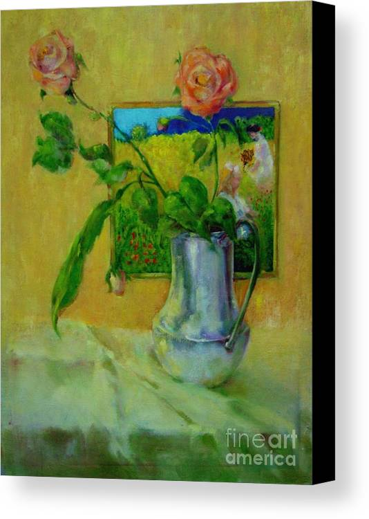 Floral Canvas Print featuring the painting Silver And Roses   Copyrighted by Kathleen Hoekstra