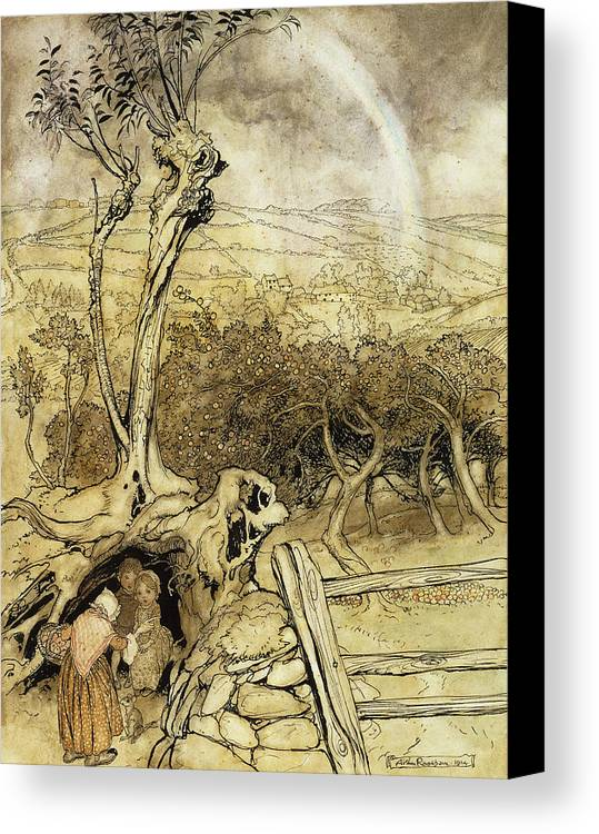 British Artist Canvas Print featuring the painting So Nobody Can Quite Explain Exactly Where The Rainbows End by Arthur Rackham