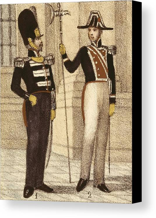 Man Canvas Print featuring the photograph Spain 1833. Royal Guard Infantry by Everett